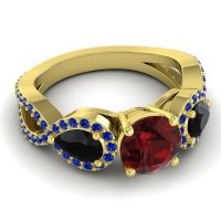 Three Stone Pave Varsa Garnet Ring with Black Onyx and Blue Sapphire in 14k Yellow Gold