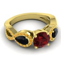 Three Stone Pave Varsa Garnet Ring with Black Onyx and Citrine in 18k Yellow Gold
