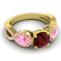 Three Stone Pave Varsa Garnet Ring with Pink Tourmaline in 18k Yellow Gold