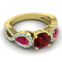 Three Stone Pave Varsa Garnet Ring with Ruby and Aquamarine in 18k Yellow Gold