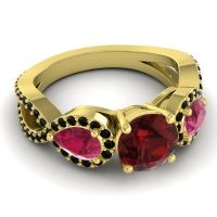 Three Stone Pave Varsa Garnet Ring with Ruby and Black Onyx in 14k Yellow Gold