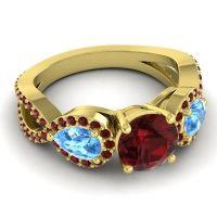 Three Stone Pave Varsa Garnet Ring with Swiss Blue Topaz in 14k Yellow Gold