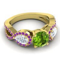 Three Stone Pave Varsa Peridot Ring with Diamond and Amethyst in 18k Yellow Gold