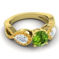 Three Stone Pave Varsa Peridot Ring with Diamond and Citrine in 18k Yellow Gold