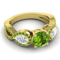 Three Stone Pave Varsa Peridot Ring with Diamond in 18k Yellow Gold