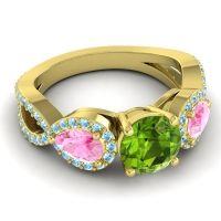Three Stone Pave Varsa Peridot Ring with Pink Tourmaline and Aquamarine in 14k Yellow Gold