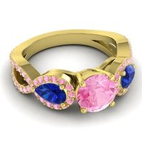 Three Stone Pave Varsa Pink Tourmaline Ring with Blue Sapphire in 18k Yellow Gold