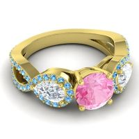 Three Stone Pave Varsa Pink Tourmaline Ring with Diamond and Swiss Blue Topaz in 14k Yellow Gold