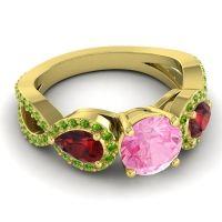 Three Stone Pave Varsa Pink Tourmaline Ring with Garnet and Peridot in 18k Yellow Gold