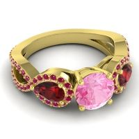 Three Stone Pave Varsa Pink Tourmaline Ring with Garnet and Ruby in 18k Yellow Gold