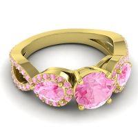 Three Stone Pave Varsa Pink Tourmaline Ring in 18k Yellow Gold