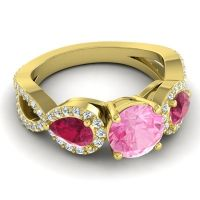 Three Stone Pave Varsa Pink Tourmaline Ring with Ruby and Diamond in 18k Yellow Gold