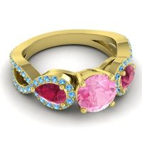 Three Stone Pave Varsa Pink Tourmaline Ring with Ruby and Swiss Blue Topaz in 14k Yellow Gold