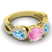 Three Stone Pave Varsa Pink Tourmaline Ring with Swiss Blue Topaz and Diamond in 14k Yellow Gold