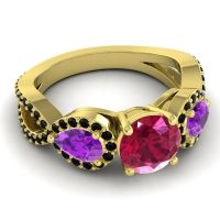 Three Stone Pave Varsa Ruby Ring with Amethyst and Black Onyx in 14k Yellow Gold