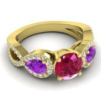 Three Stone Pave Varsa Ruby Ring with Amethyst and Diamond in 18k Yellow Gold