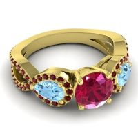 Three Stone Pave Varsa Ruby Ring with Aquamarine and Garnet in 14k Yellow Gold