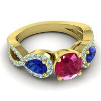 Three Stone Pave Varsa Ruby Ring with Blue Sapphire and Aquamarine in 18k Yellow Gold