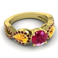 Three Stone Pave Varsa Ruby Ring with Citrine and Garnet in 18k Yellow Gold