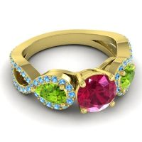 Three Stone Pave Varsa Ruby Ring with Peridot and Swiss Blue Topaz in 14k Yellow Gold