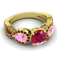 Three Stone Pave Varsa Ruby Ring with Pink Tourmaline and Garnet in 18k Yellow Gold