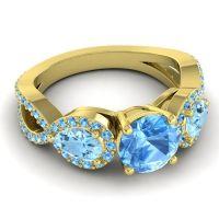 Three Stone Pave Varsa Swiss Blue Topaz Ring with Aquamarine in 18k Yellow Gold