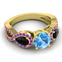 Three Stone Pave Varsa Swiss Blue Topaz Ring with Black Onyx and Amethyst in 14k Yellow Gold