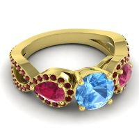 Three Stone Pave Varsa Swiss Blue Topaz Ring with Ruby and Garnet in 18k Yellow Gold