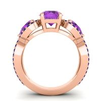 Three Stone Pave Varsa Amethyst Ring with Blue Sapphire in 14K Rose Gold