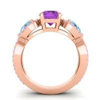 Three Stone Pave Varsa Amethyst Ring with Aquamarine and Pink Tourmaline in 14K Rose Gold