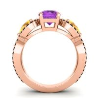 Three Stone Pave Varsa Amethyst Ring with Citrine and Black Onyx in 14K Rose Gold