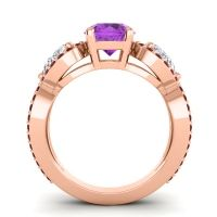 Three Stone Pave Varsa Amethyst Ring with Diamond and Garnet in 14K Rose Gold