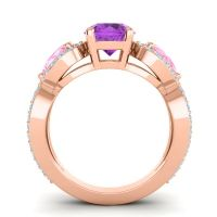 Three Stone Pave Varsa Amethyst Ring with Pink Tourmaline and Aquamarine in 14K Rose Gold