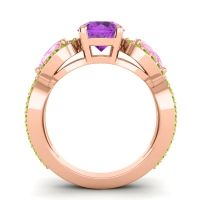 Three Stone Pave Varsa Amethyst Ring with Pink Tourmaline and Peridot in 18K Rose Gold