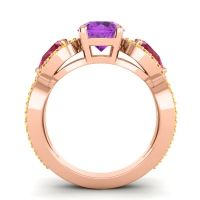 Three Stone Pave Varsa Amethyst Ring with Ruby and Citrine in 18K Rose Gold