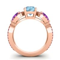 Three Stone Pave Varsa Aquamarine Ring with Amethyst and Ruby in 18K Rose Gold