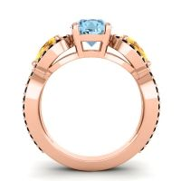 Three Stone Pave Varsa Aquamarine Ring with Citrine and Black Onyx in 18K Rose Gold