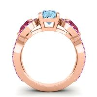 Three Stone Pave Varsa Aquamarine Ring with Ruby and Amethyst in 18K Rose Gold