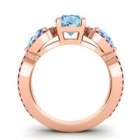 Three Stone Pave Varsa Aquamarine Ring with Swiss Blue Topaz and Ruby in 14K Rose Gold