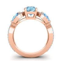 Three Stone Pave Varsa Aquamarine Ring with Swiss Blue Topaz in 14K Rose Gold