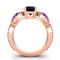 Three Stone Pave Varsa Black Onyx Ring with Amethyst and Blue Sapphire in 18K Rose Gold