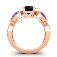 Three Stone Pave Varsa Black Onyx Ring with Amethyst and Peridot in 14K Rose Gold