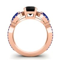 Three Stone Pave Varsa Black Onyx Ring with Blue Sapphire in 18K Rose Gold