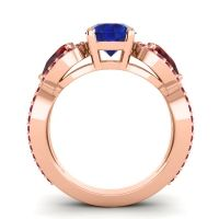 Three Stone Pave Varsa Blue Sapphire Ring with Garnet and Ruby in 14K Rose Gold