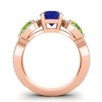 Three Stone Pave Varsa Blue Sapphire Ring with Peridot and Aquamarine in 14K Rose Gold