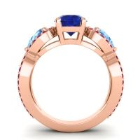 Three Stone Pave Varsa Blue Sapphire Ring with Swiss Blue Topaz and Ruby in 18K Rose Gold