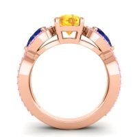 Three Stone Pave Varsa Citrine Ring with Blue Sapphire and Pink Tourmaline in 14K Rose Gold