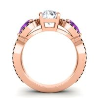 Three Stone Pave Varsa Diamond Ring with Amethyst and Black Onyx in 18K Rose Gold