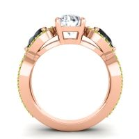 Three Stone Pave Varsa Diamond Ring with Black Onyx and Peridot in 18K Rose Gold