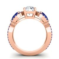 Three Stone Pave Varsa Diamond Ring with Blue Sapphire in 14K Rose Gold